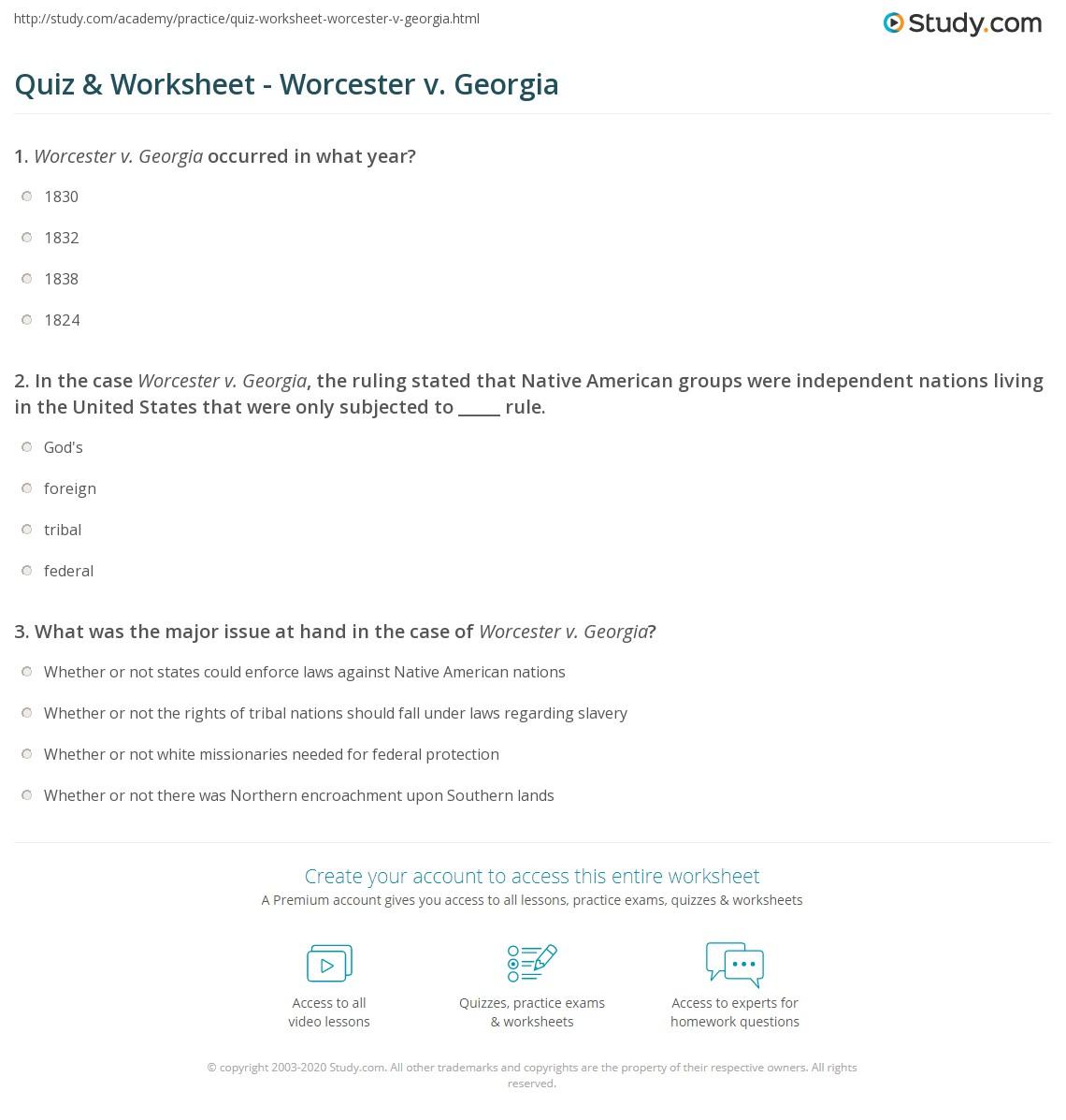 Quiz worksheet worcester v georgia study print worcester v georgia summary explanation worksheet xflitez Choice Image