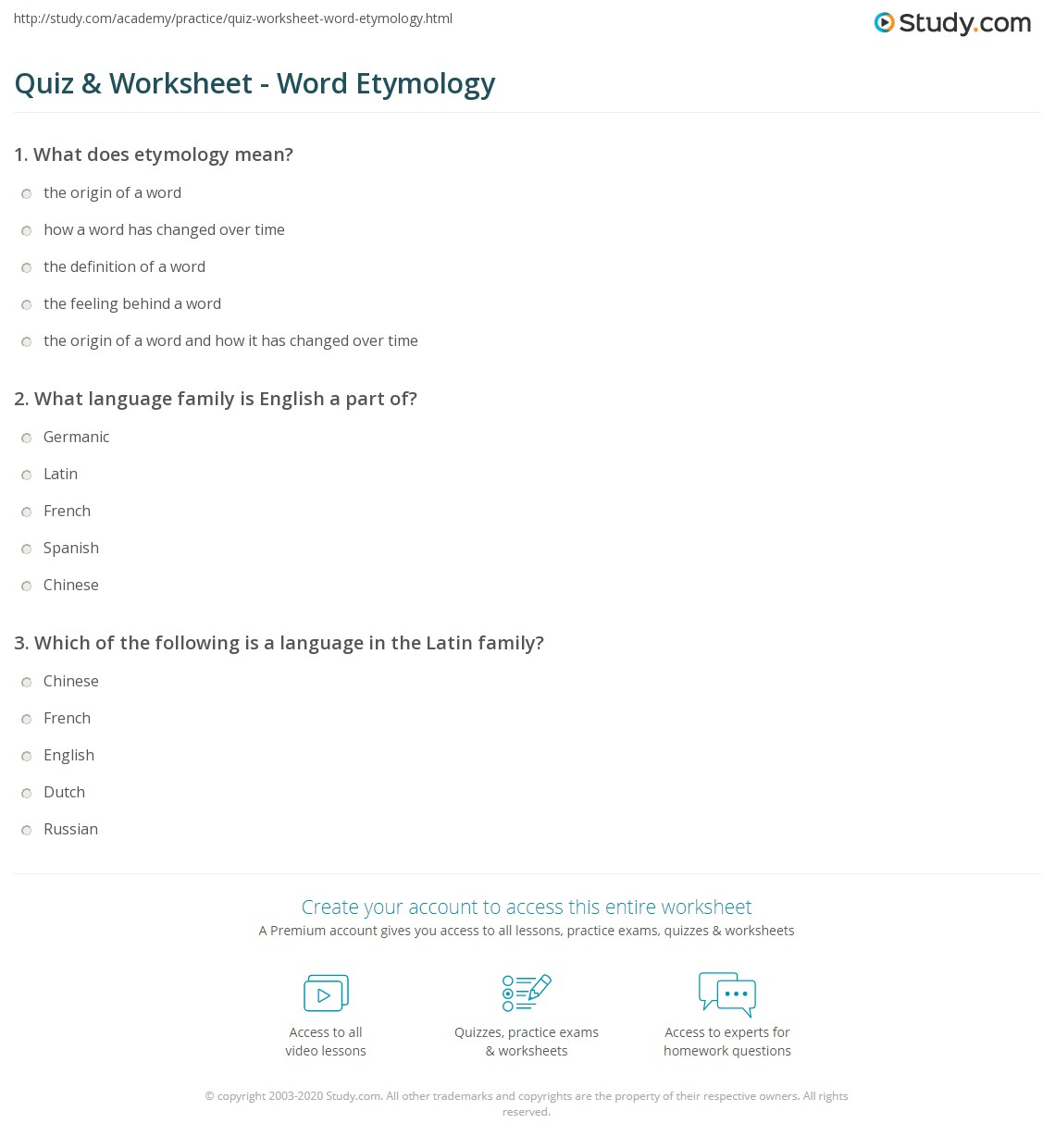 Quiz worksheet word etymology study print the etymology of words worksheet ibookread Read Online