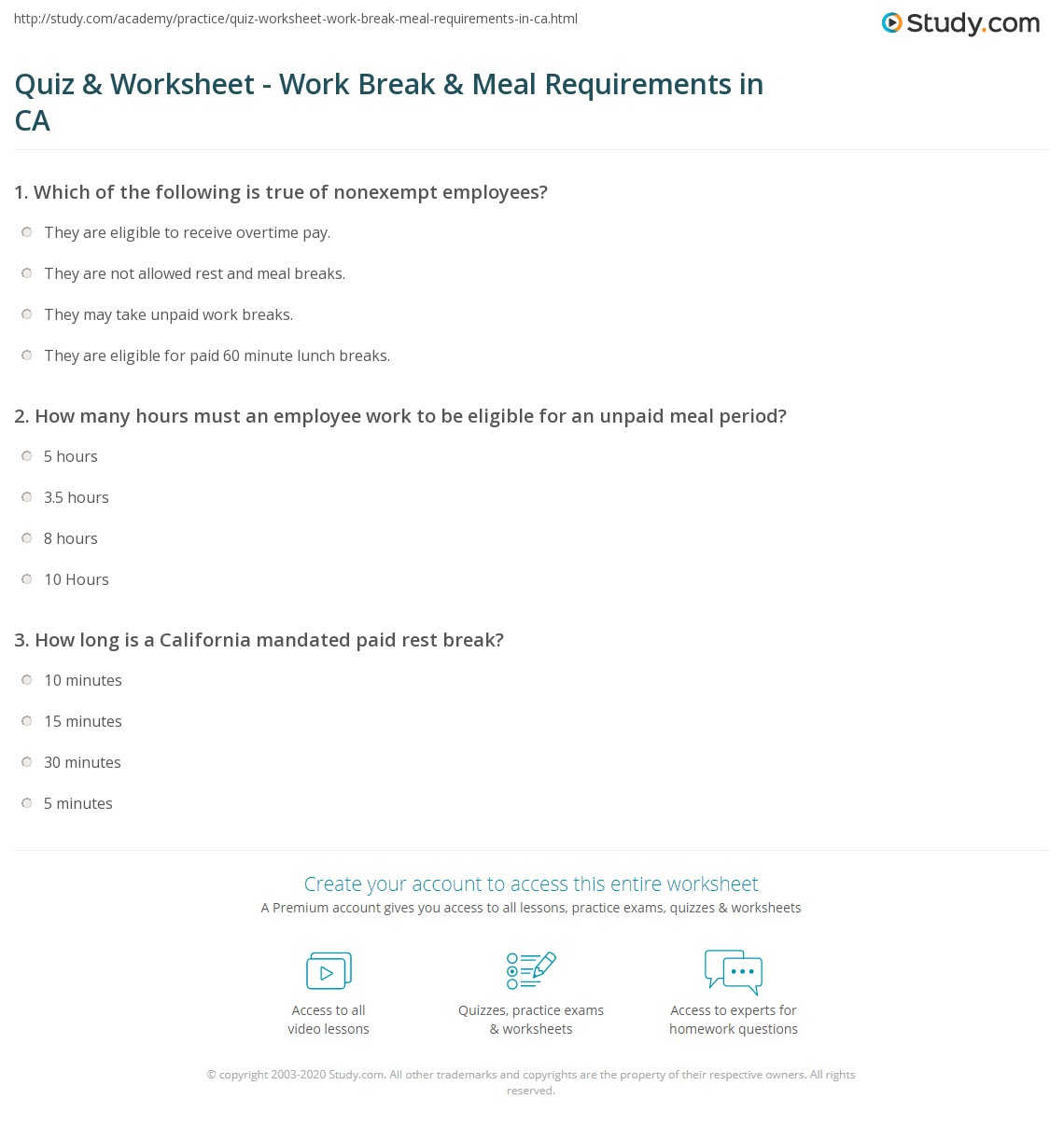 quiz & worksheet - work break & meal requirements in ca | study