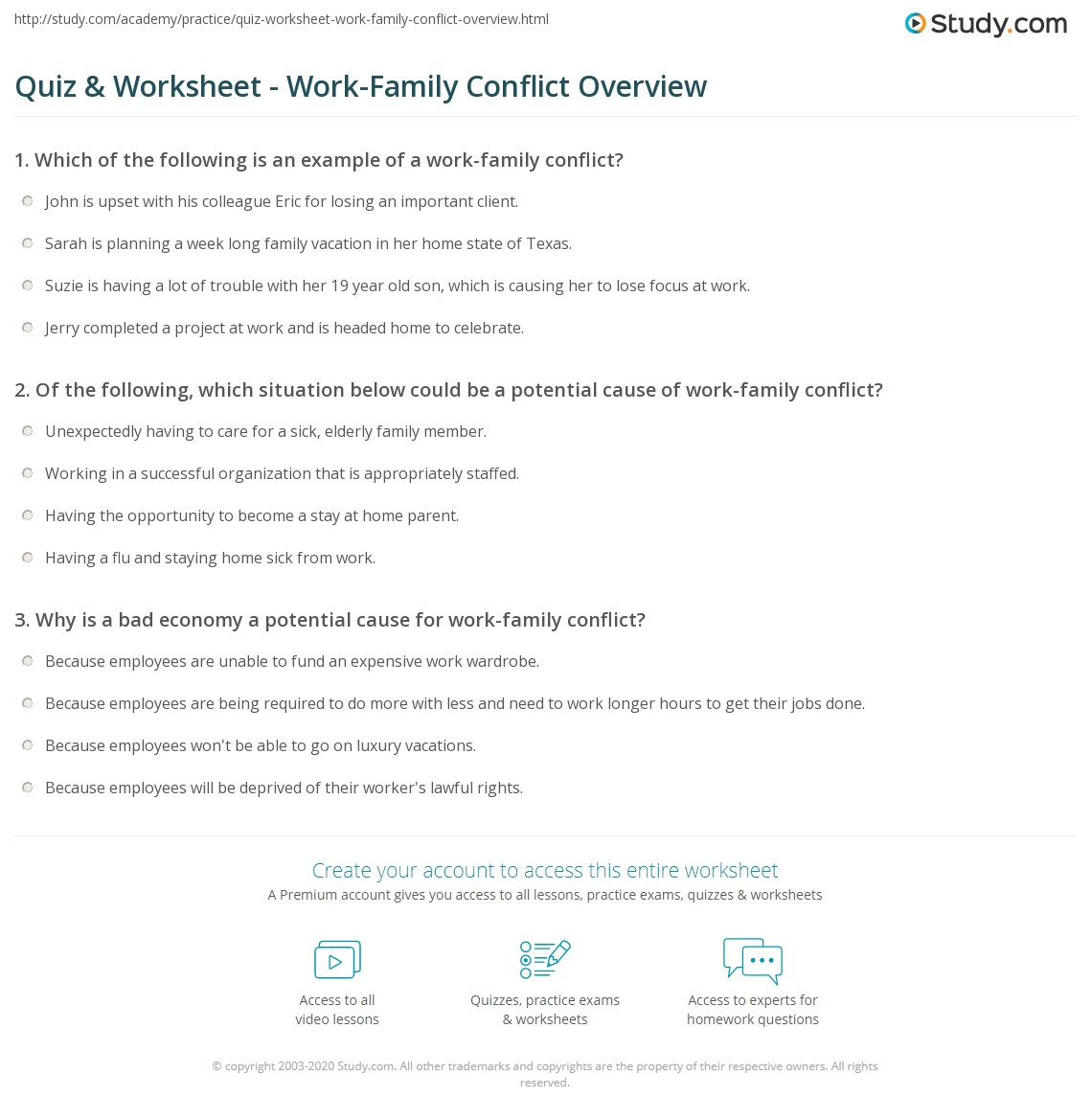 quiz worksheet work family conflict overview study com