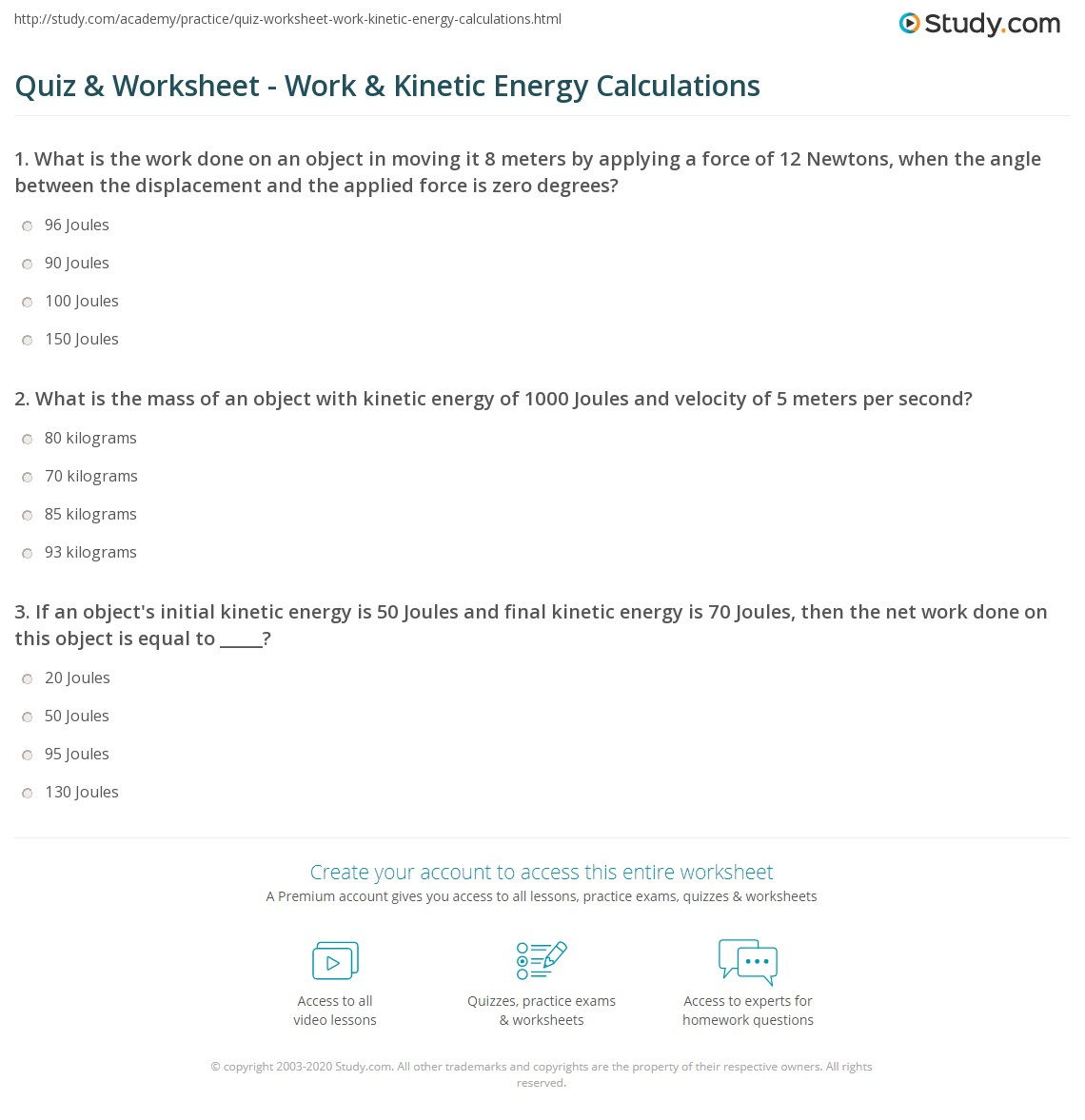 Quiz & Worksheet - Work & Kinetic Energy Calculations | Study.com