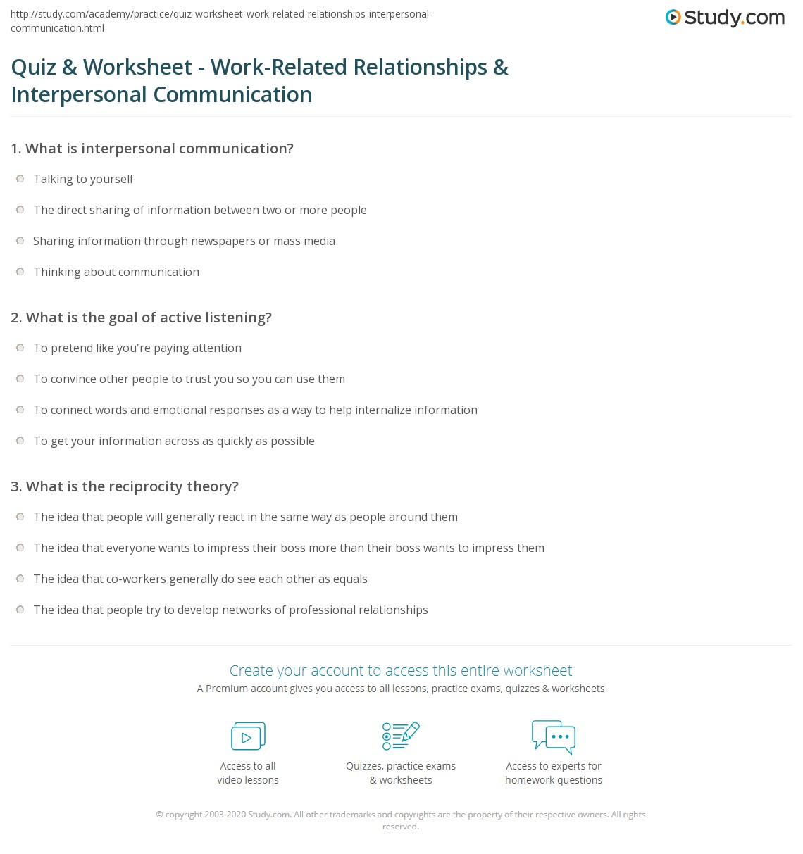 Quiz & Worksheet - Work-Related Relationships & Interpersonal ...