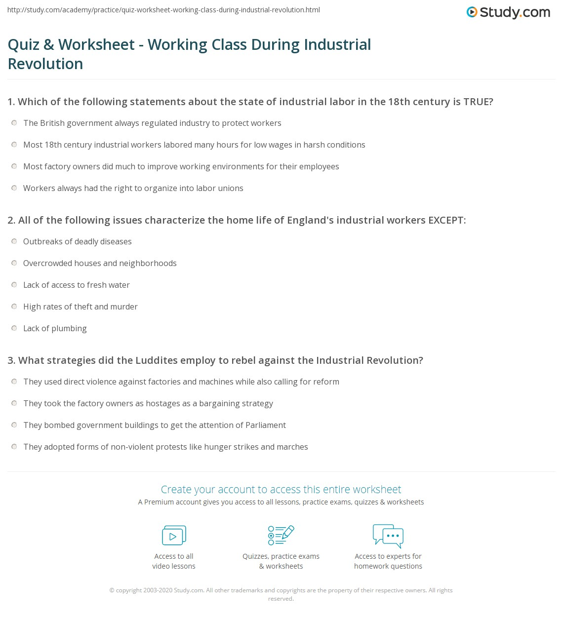 quiz worksheet working class during industrial revolution. Black Bedroom Furniture Sets. Home Design Ideas