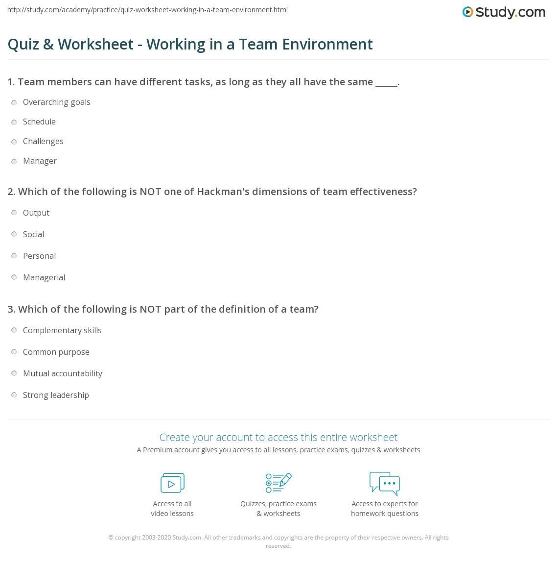 quiz worksheet working in a team environment com print working in a team environment definition skills worksheet