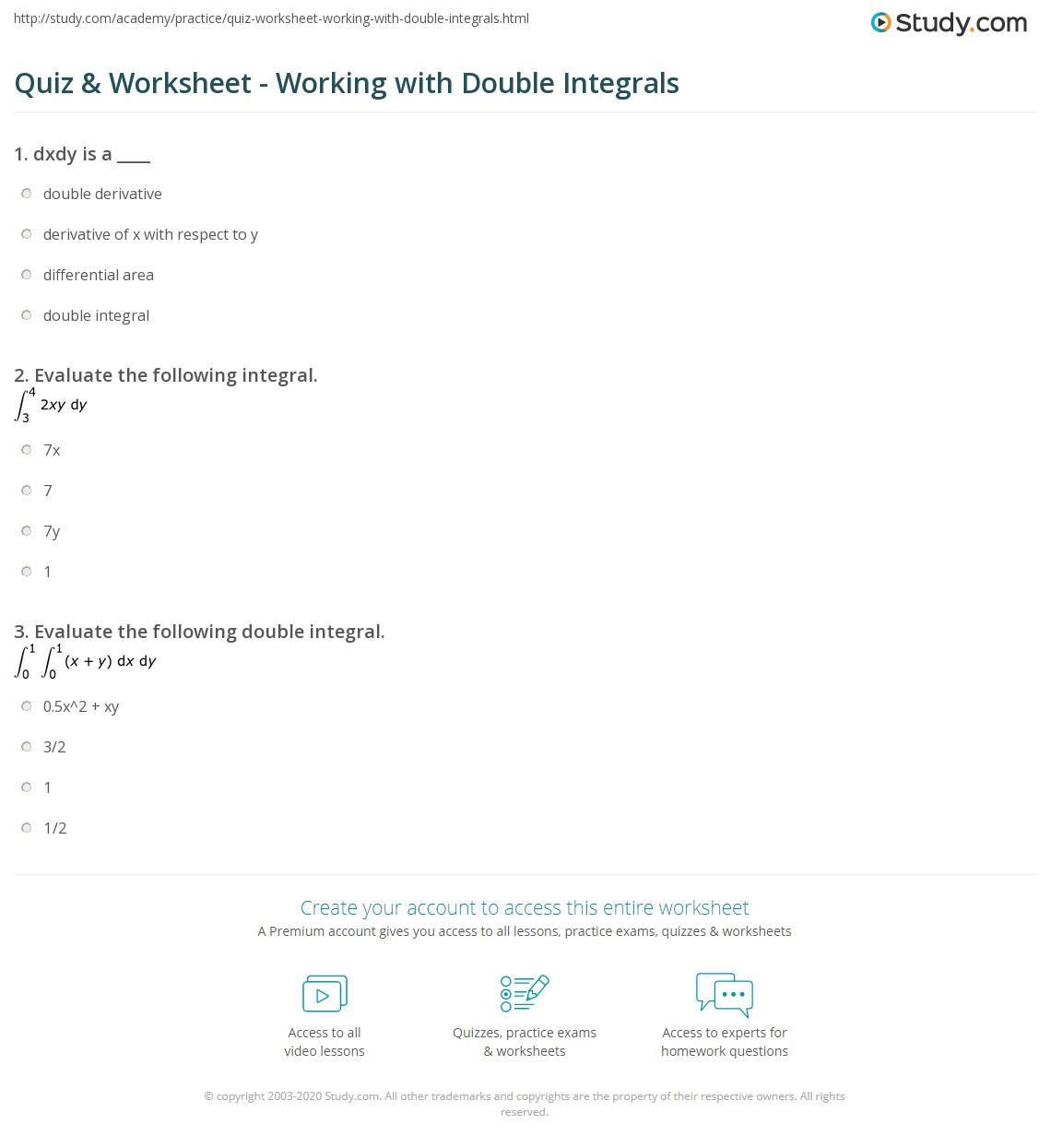 quiz worksheet working with double integrals. Black Bedroom Furniture Sets. Home Design Ideas