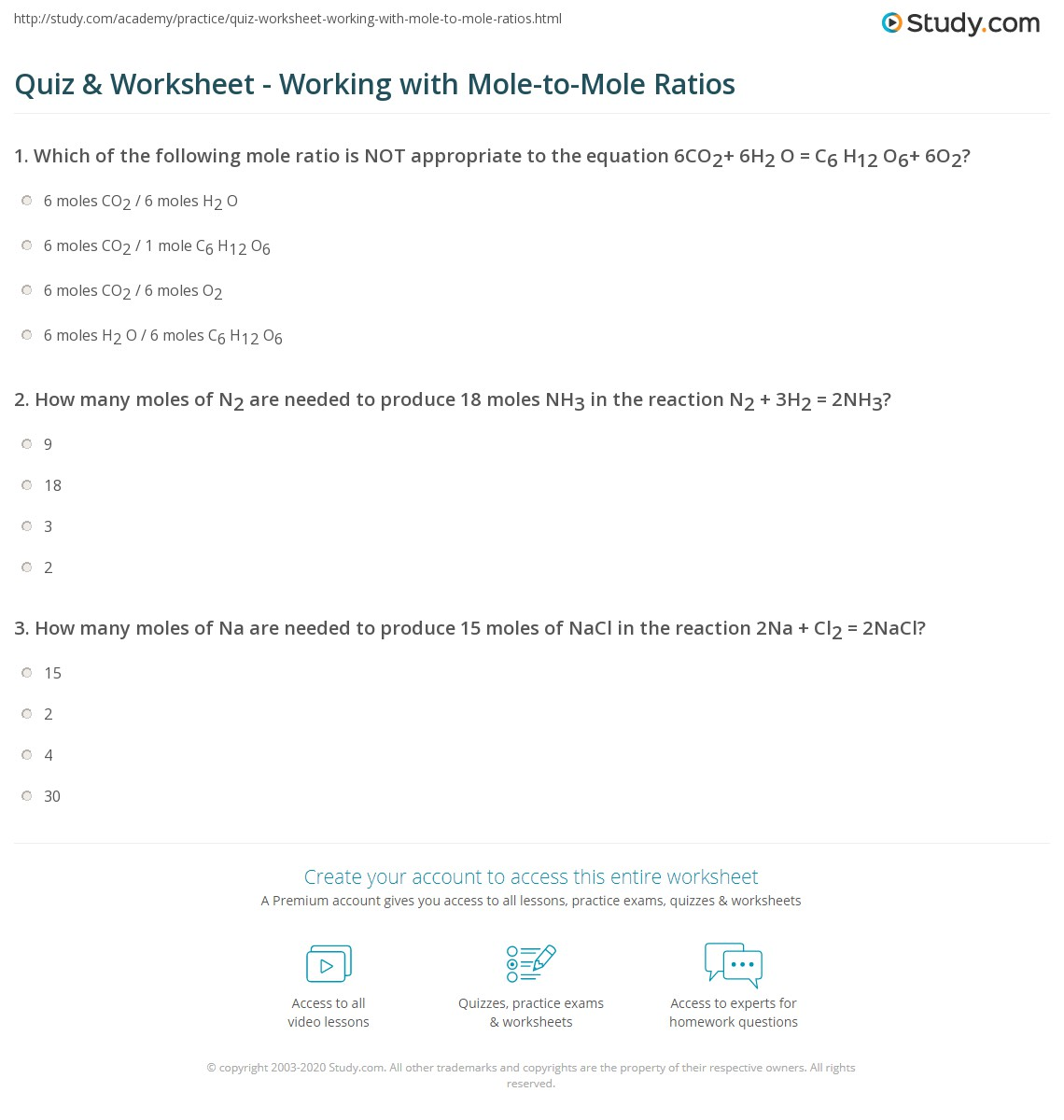 Quiz Worksheet Working With Mole To Mole Ratios Study