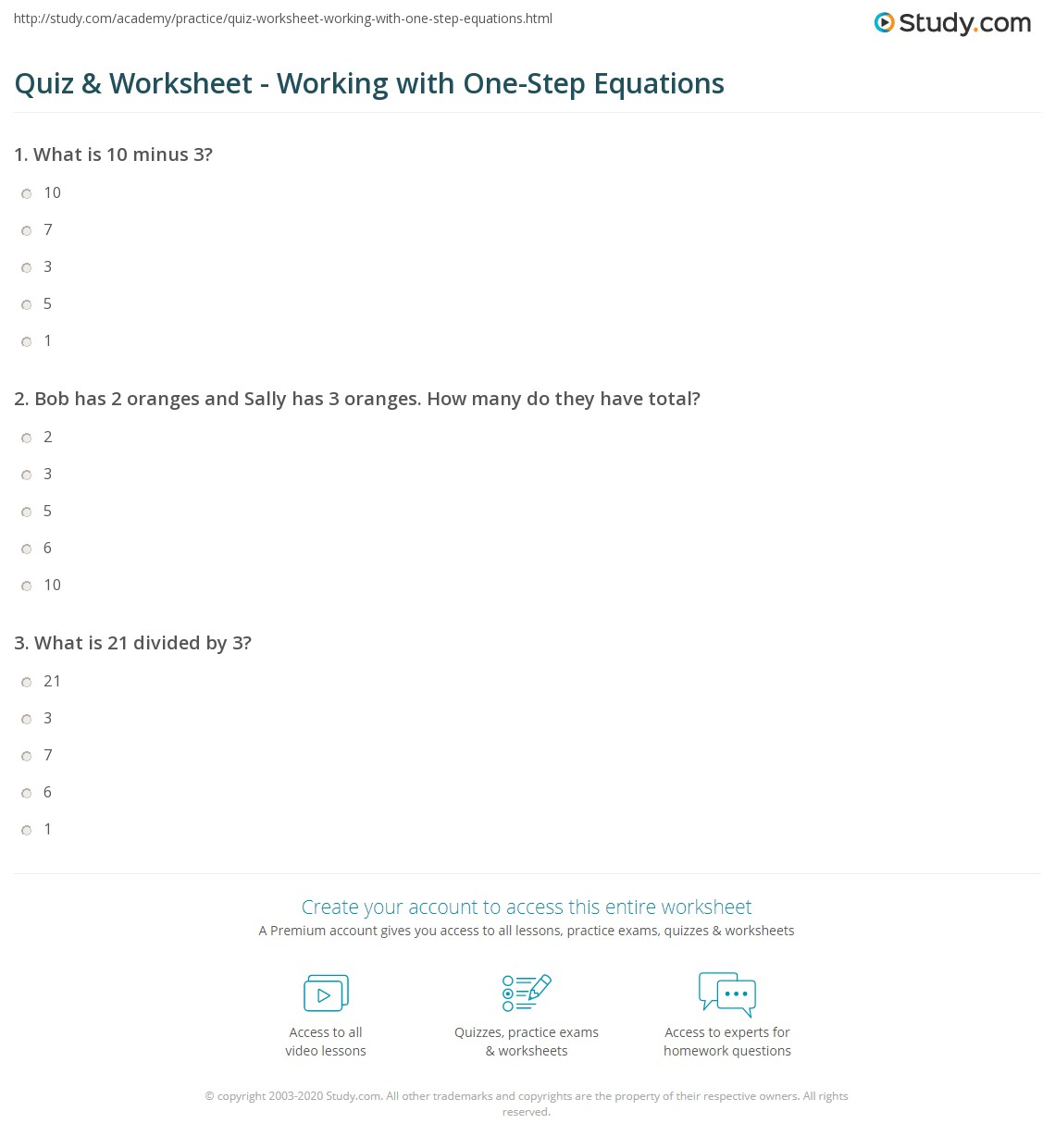 Quiz & Worksheet - Working with One-Step Equations | Study.com