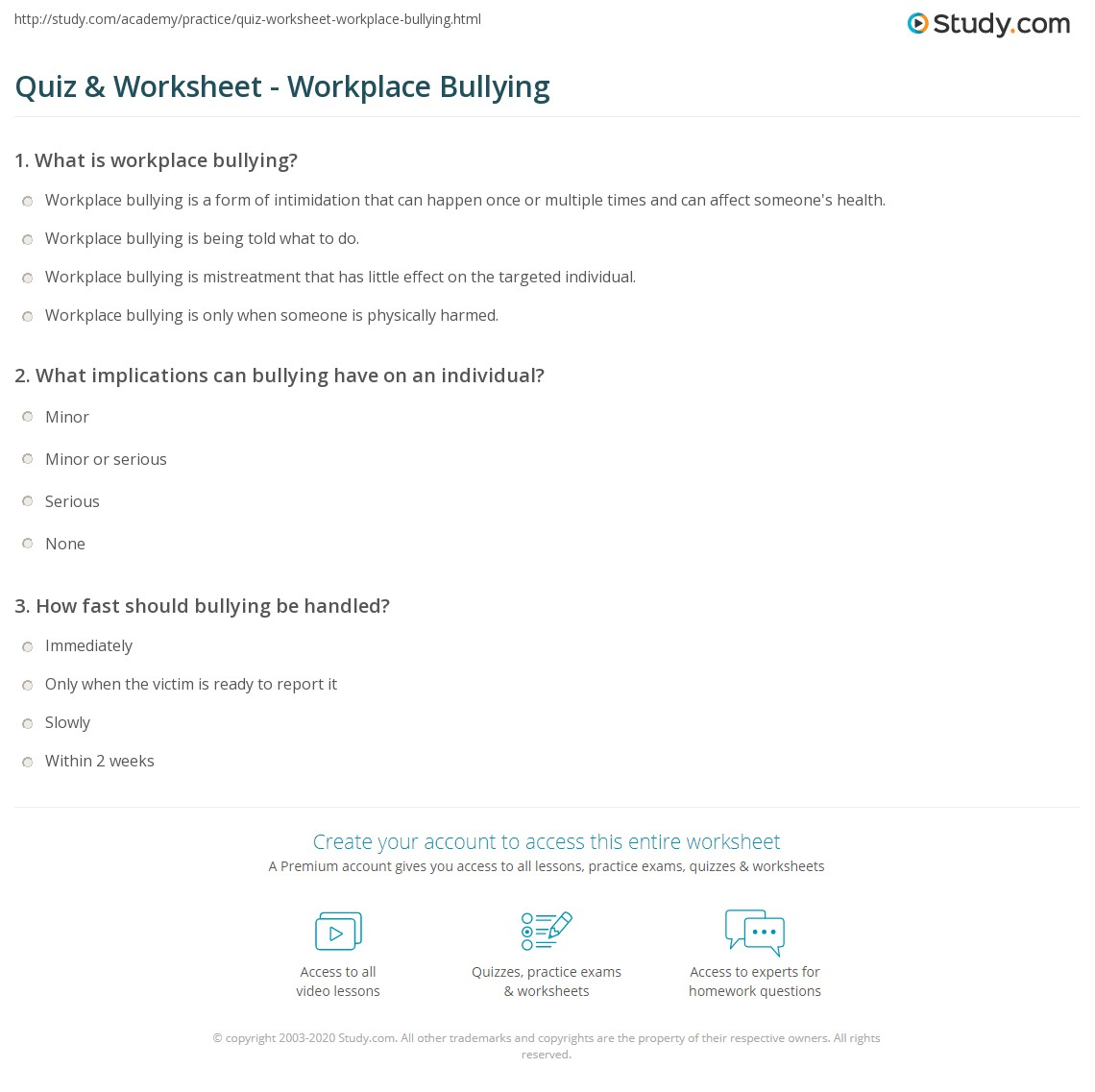 Worksheets Bullying Worksheets quiz worksheet workplace bullying study com print in the worksheet