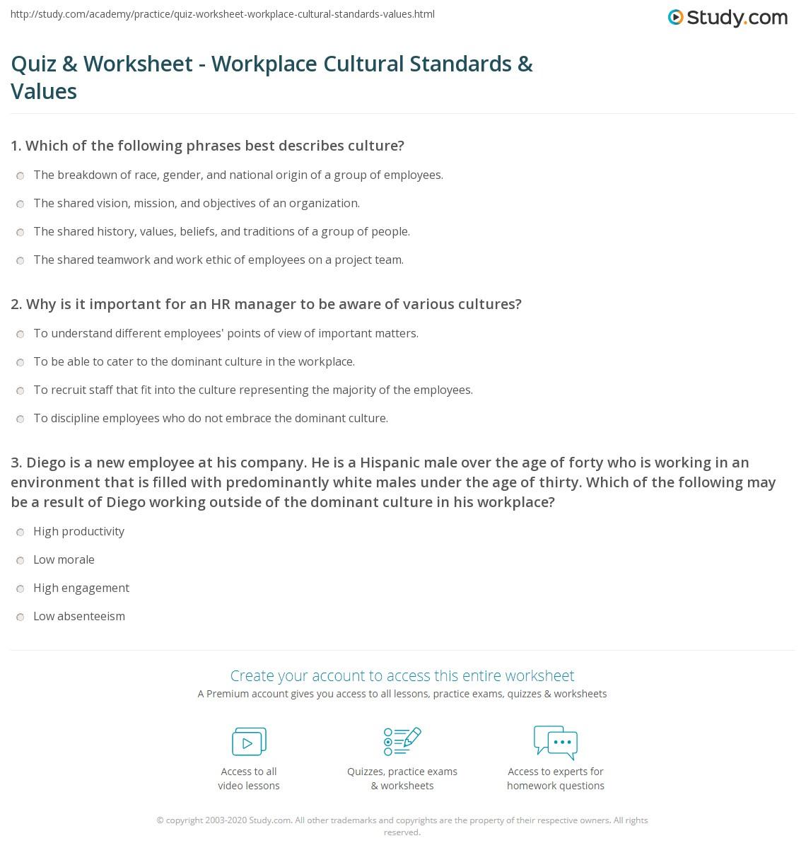 quiz worksheet workplace cultural standards values com print cultural standards values in the workplace knowledge application worksheet