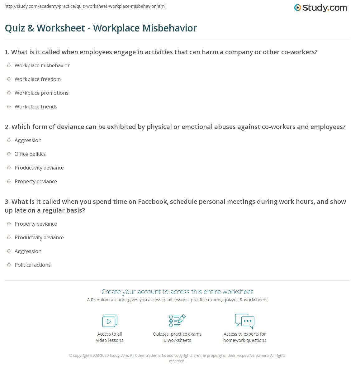 quiz worksheet workplace misbehavior com print workplace misbehavior deviance aggression political behavior worksheet