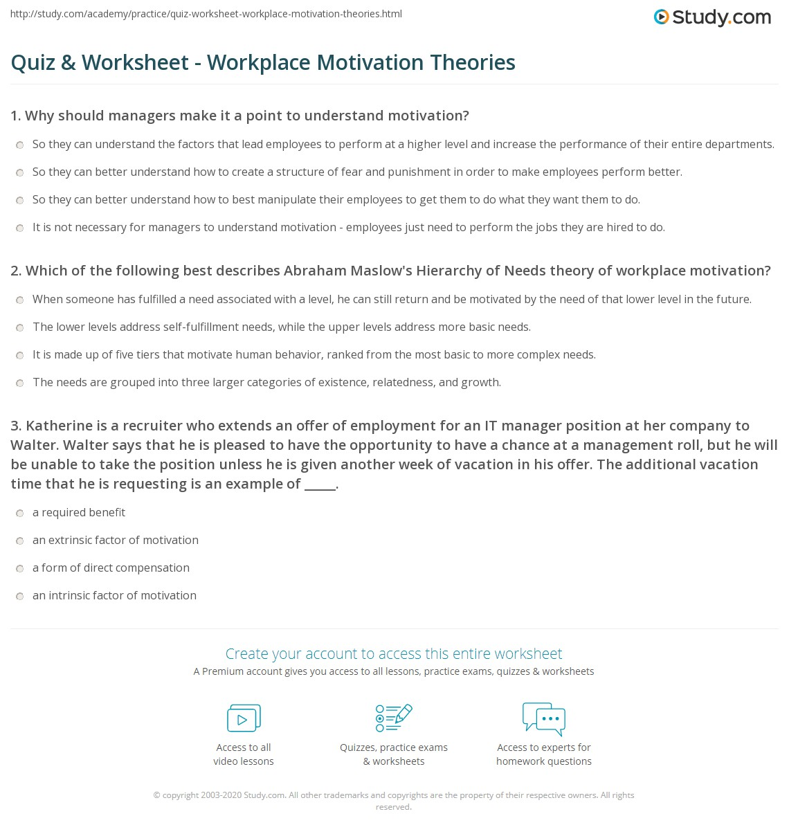 worksheet Motivation Worksheets quiz worksheet workplace motivation theories study com print types examples worksheet