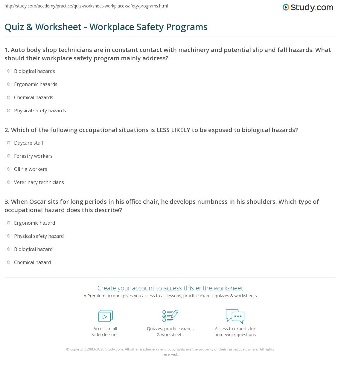 Worksheets Electrical Safety Worksheet quiz worksheet workplace safety programs study com print employee risk worksheet