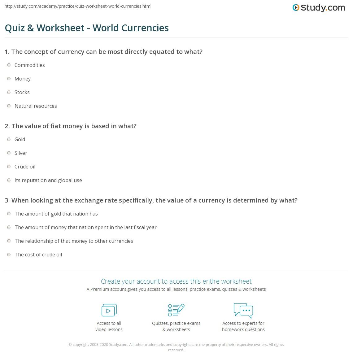 Quiz & Worksheet - World Currencies | Study.com