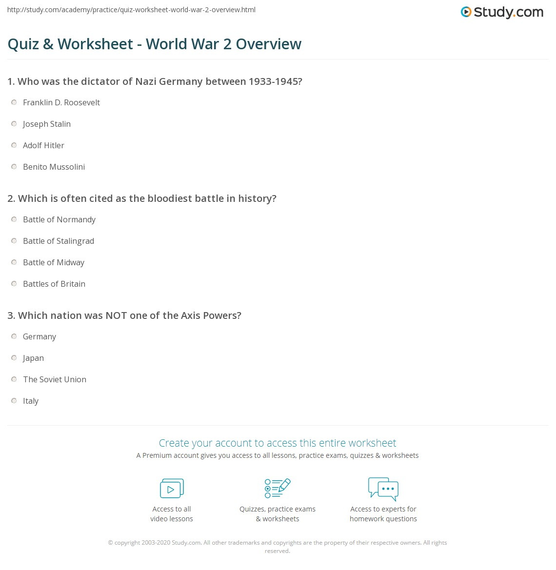 Quiz Worksheet World War 2 Overview Study