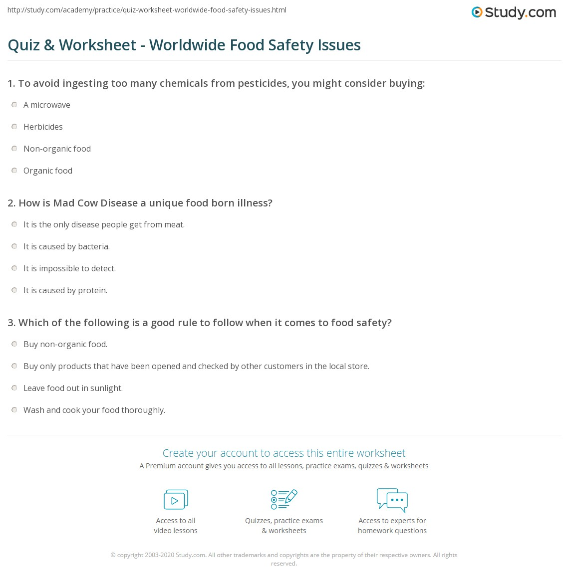 photograph about Food Safety Printable Worksheets known as Quiz Worksheet - Throughout the world Food items Protection Challenges