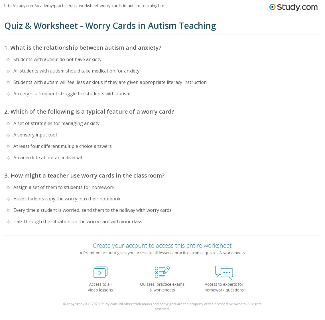 A Teachers Struggle With Student Anxiety >> Quiz Worksheet Worry Cards In Autism Teaching Study Com