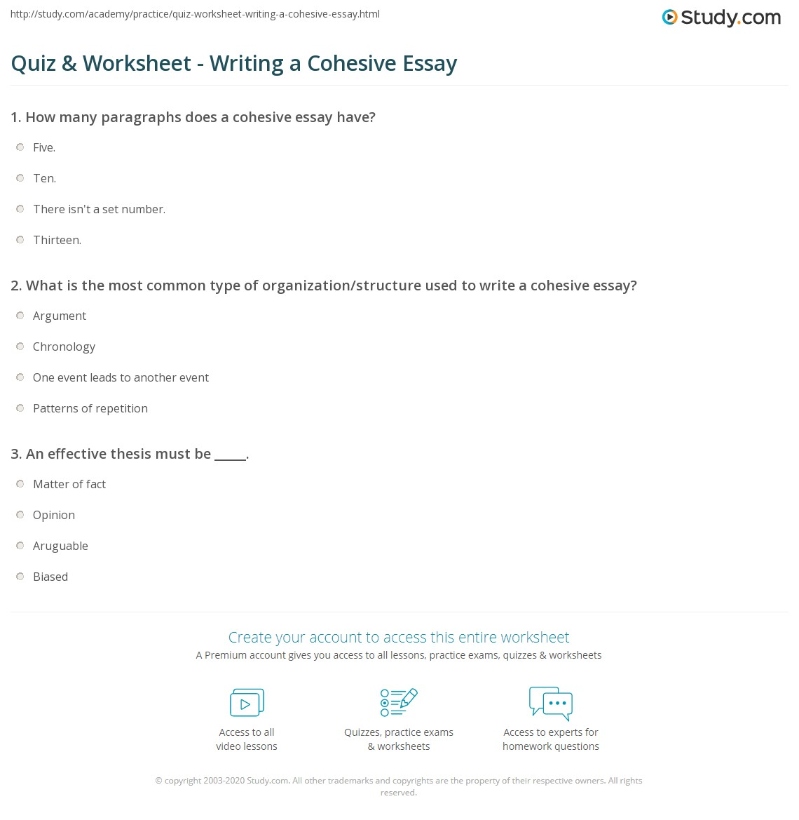 Quiz & Worksheet - Writing a Cohesive Essay | Study.com