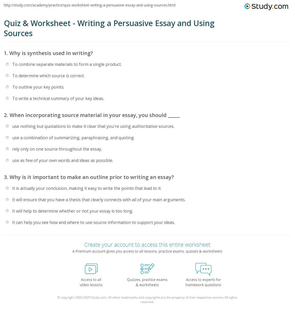 quiz worksheet writing a persuasive essay and using sources  print how to write a persuasive essay and use several sources worksheet