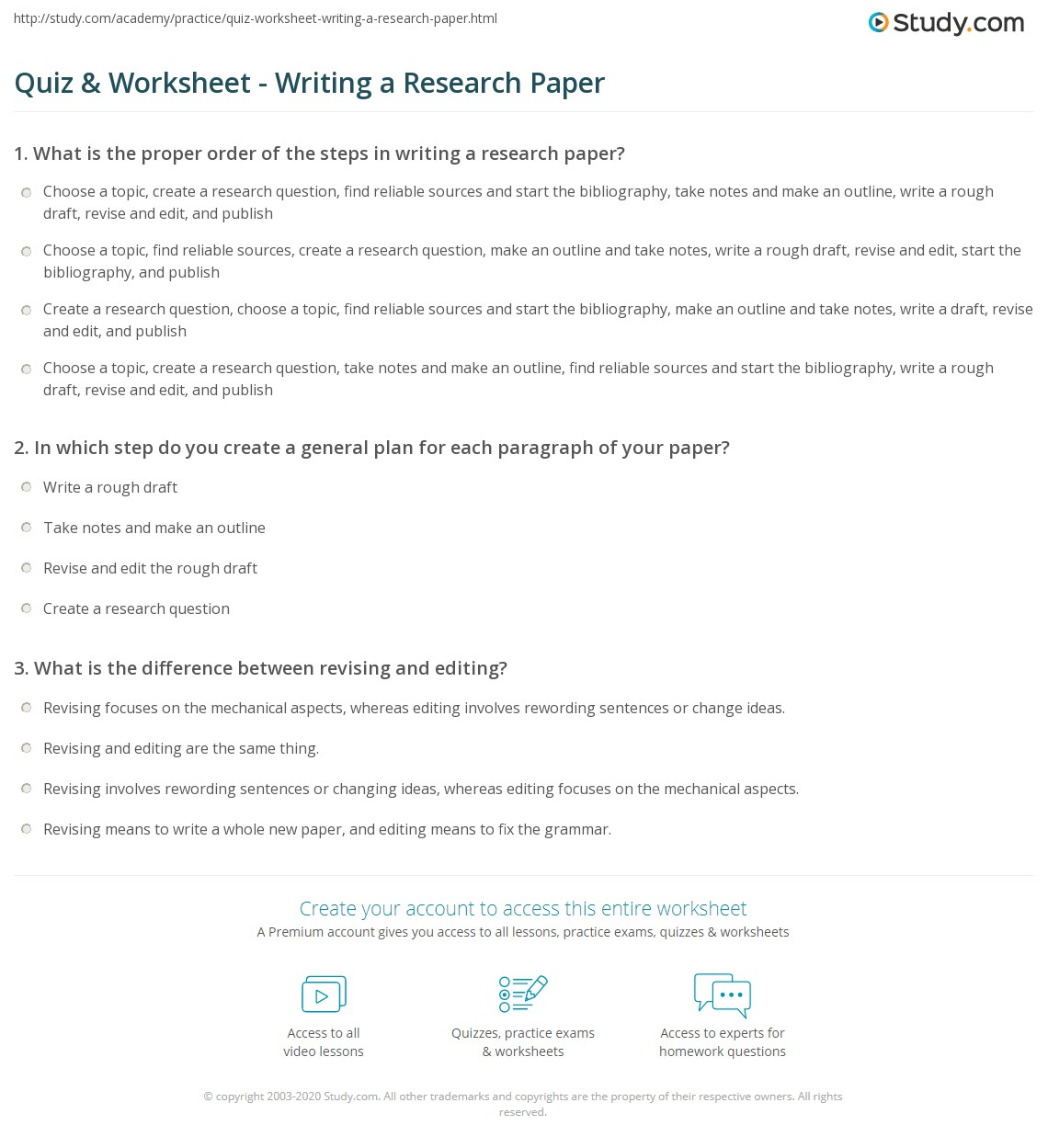 quiz worksheet writing a research paper com print how to write a research paper worksheet