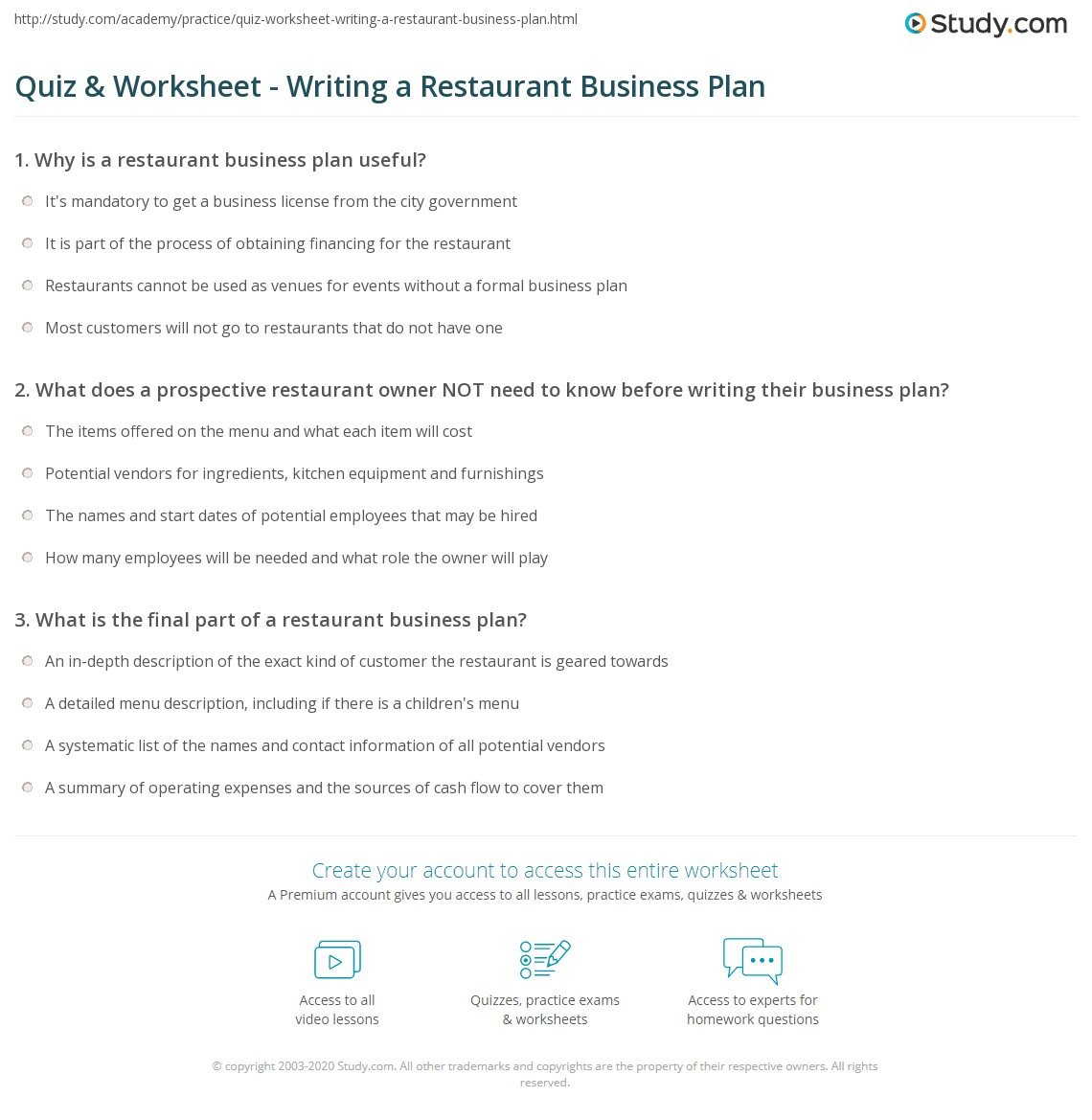 How to write restaurant business plan