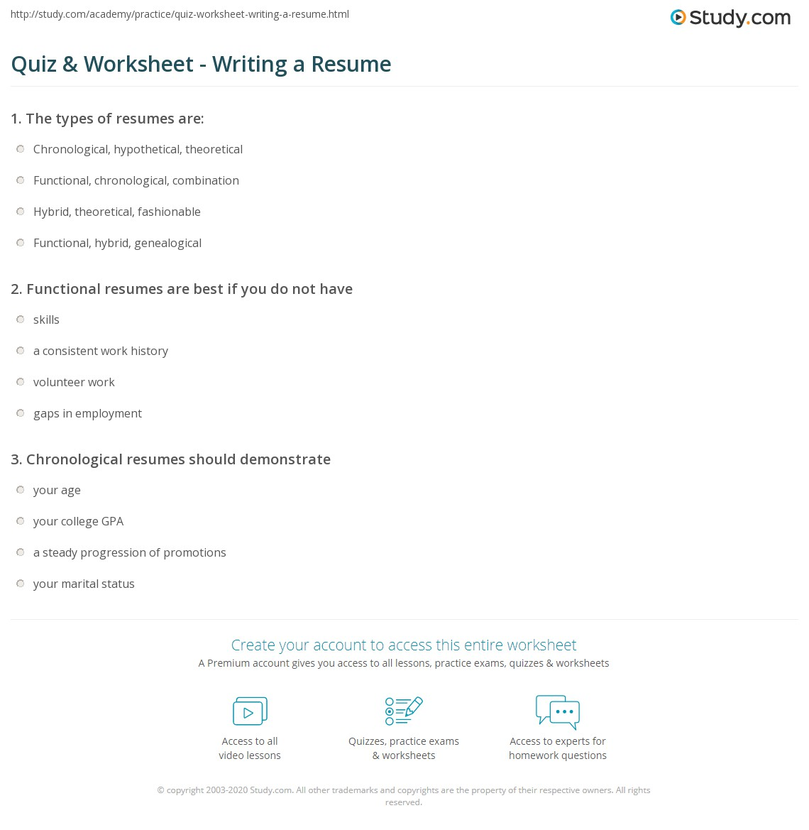 Quiz Worksheet Writing A Resume Study