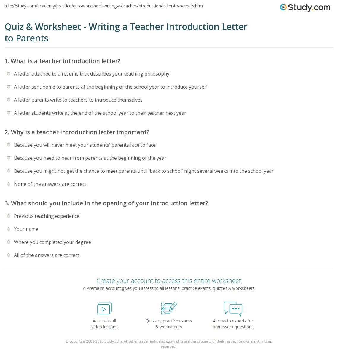 Quiz & Worksheet Writing a Teacher Introduction Letter to