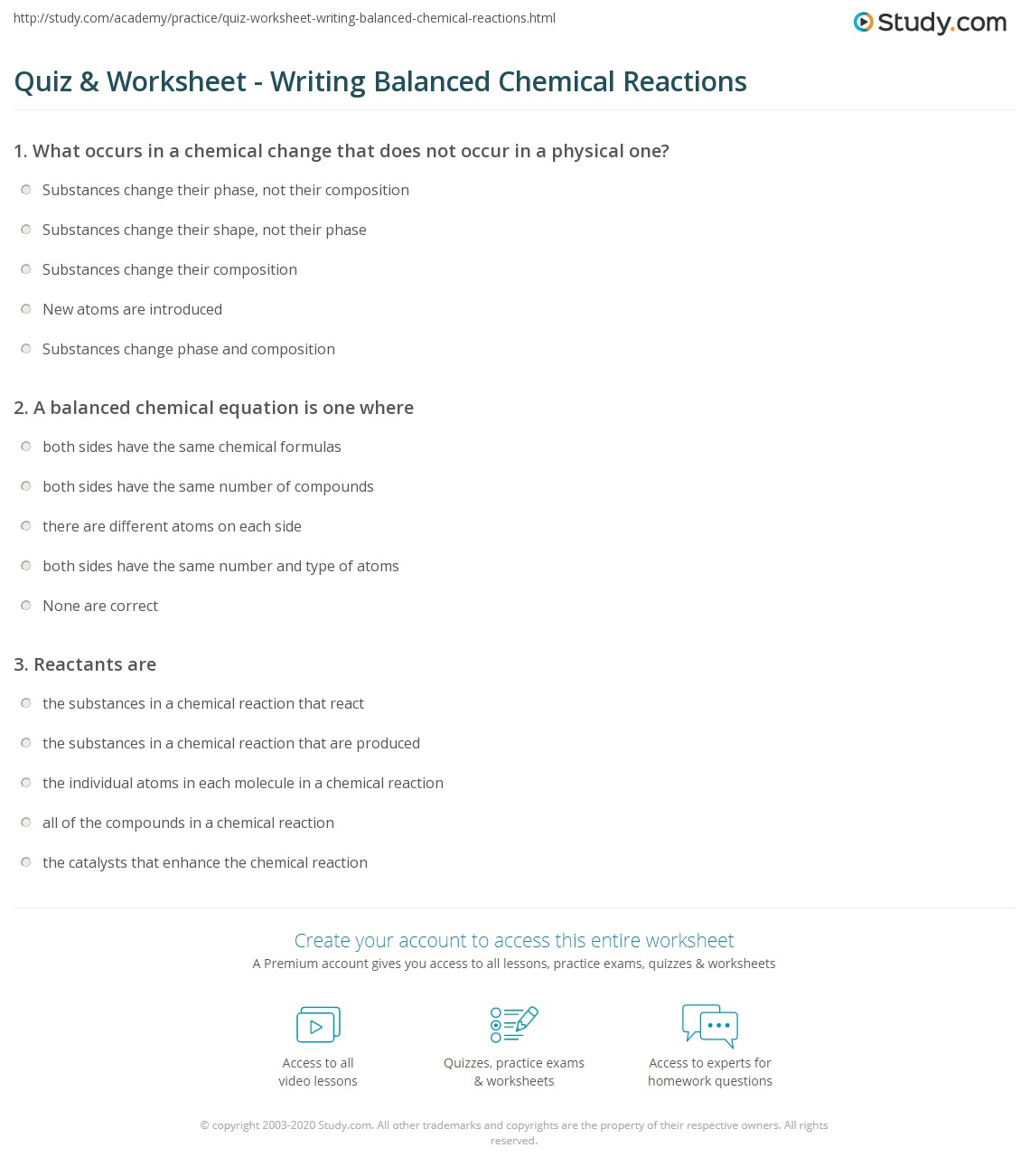 Quiz & Worksheet - Writing Balanced Chemical Reactions | Study.com