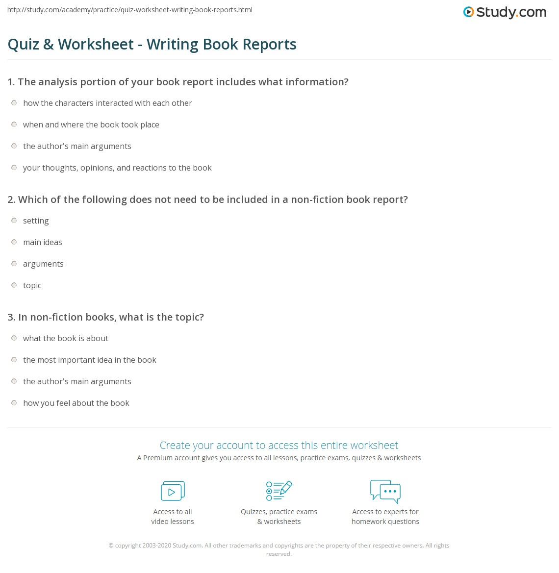 Quiz Worksheet Writing Book Reports Study