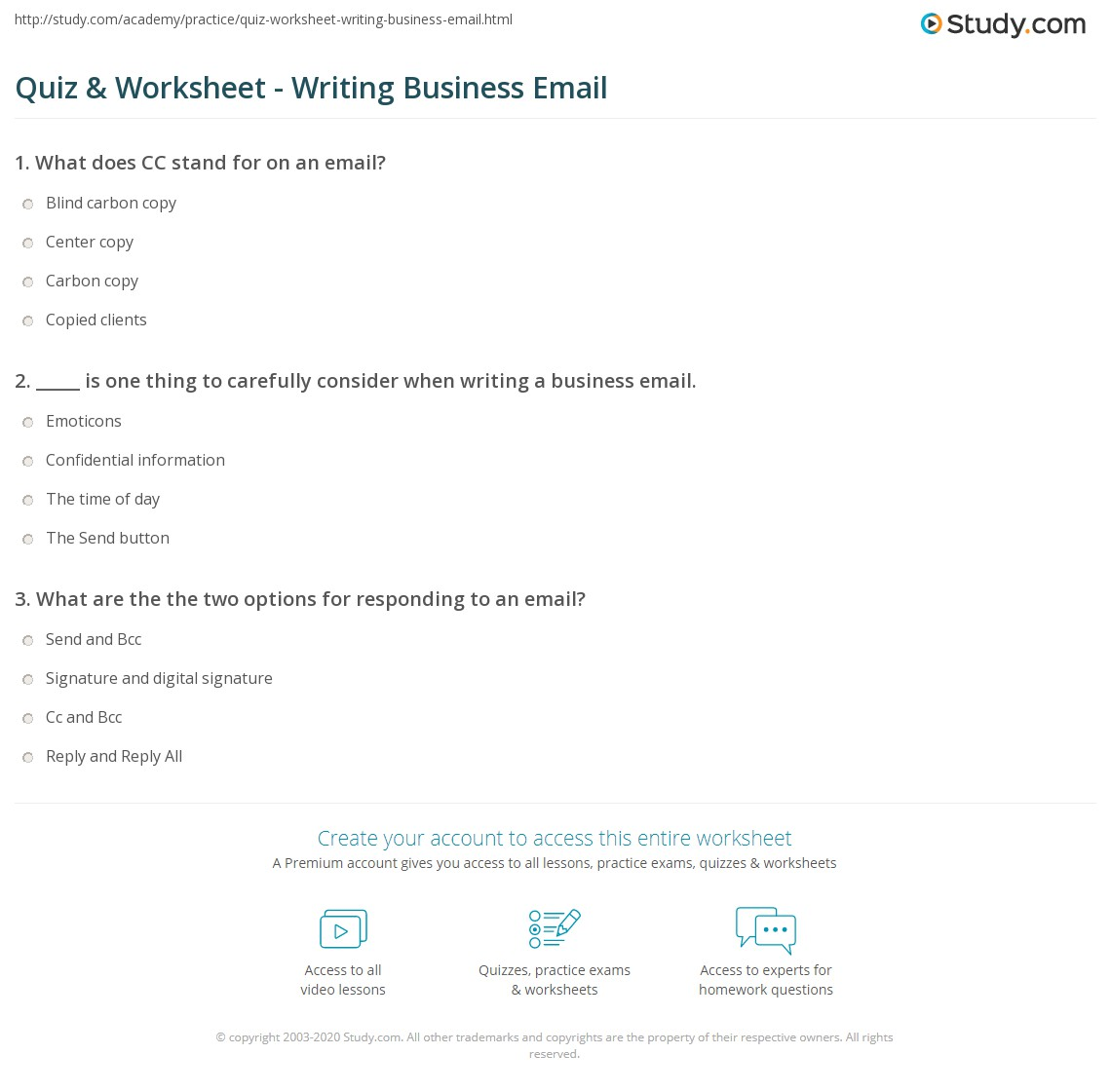 quiz worksheet writing business email study com