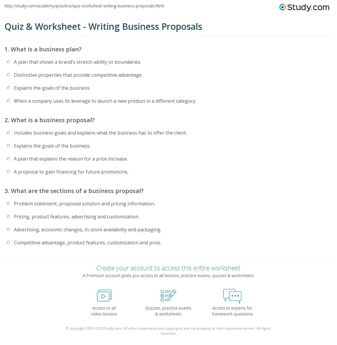 Quiz Worksheet Writing Business Proposals Study Com