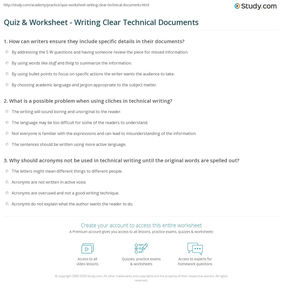 Quiz & Worksheet - Writing Clear Technical Documents | Study.com