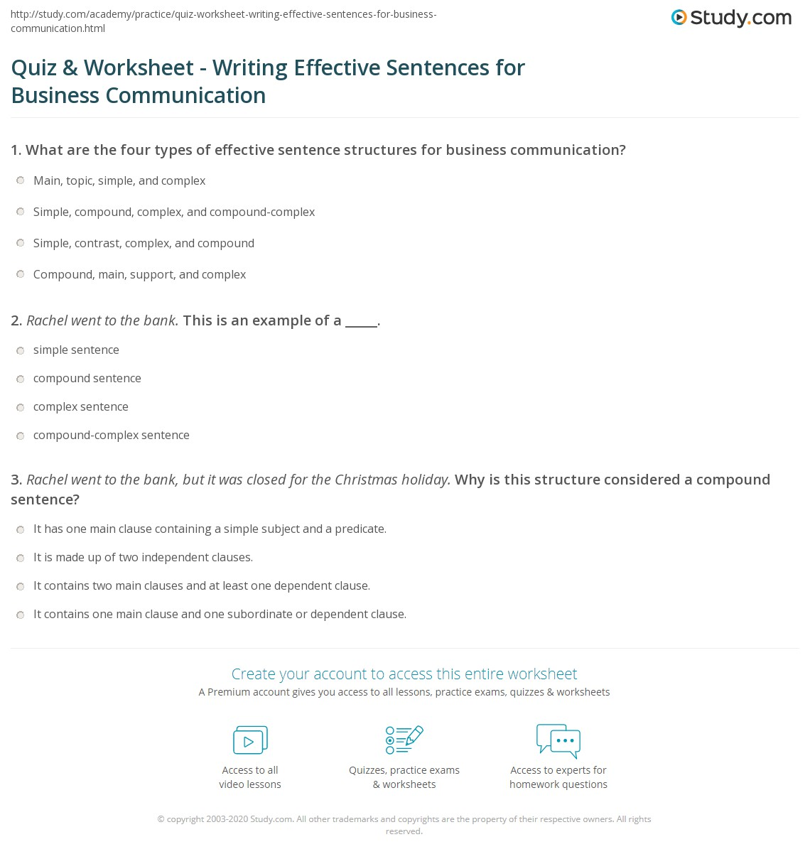 Free Worksheet Four Types Of Sentences Worksheet quiz worksheet writing effective sentences for business print communication worksheet