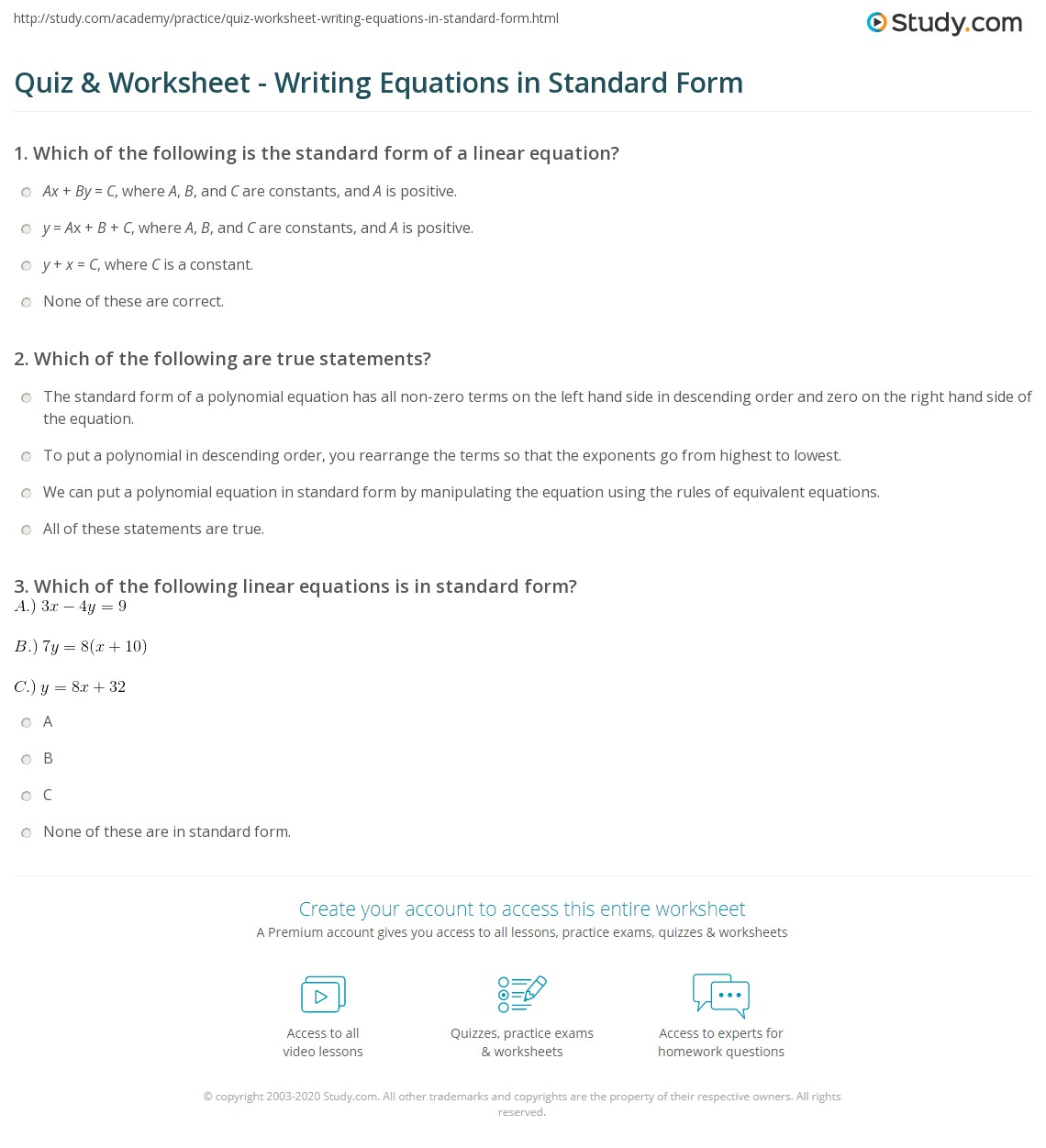 Quiz worksheet writing equations in standard form study print how to write an equation in standard form worksheet falaconquin