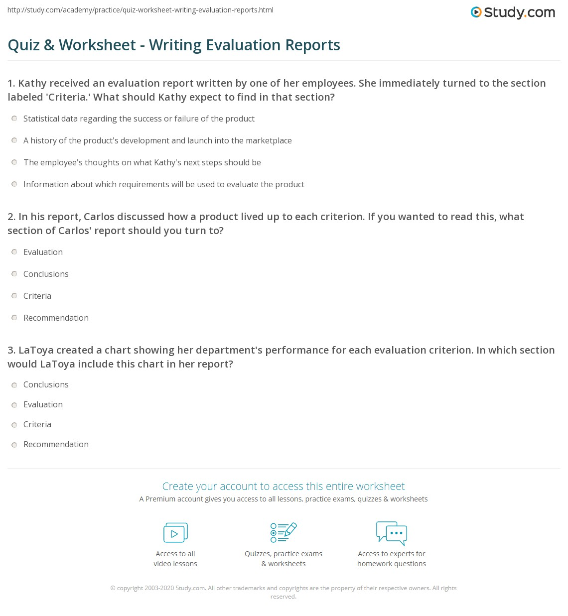 Quiz worksheet writing evaluation reports study print how to write evaluation reports purpose structure content worksheet thecheapjerseys Choice Image