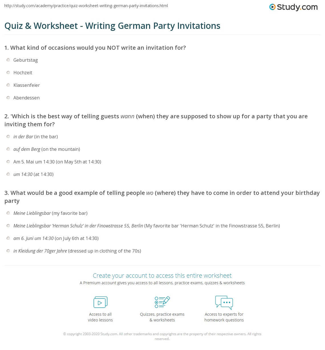 quiz worksheet writing german party invitations study com