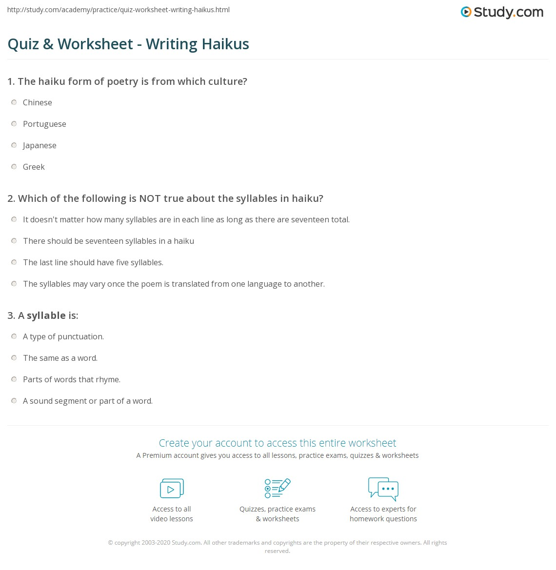 Worksheets Haiku Worksheet quiz worksheet writing haikus study com print how to write a haiku worksheet