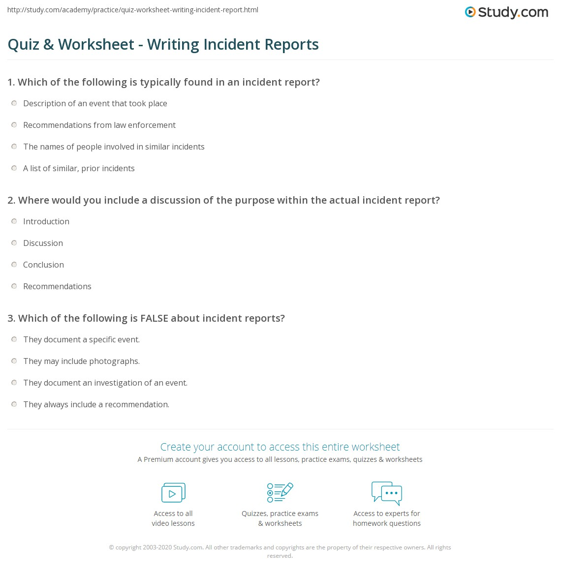 writing incident reports Here is a sample report that belongs in the type 1 category because it's a  incident reports also fall into this  you've been writing lists all your.