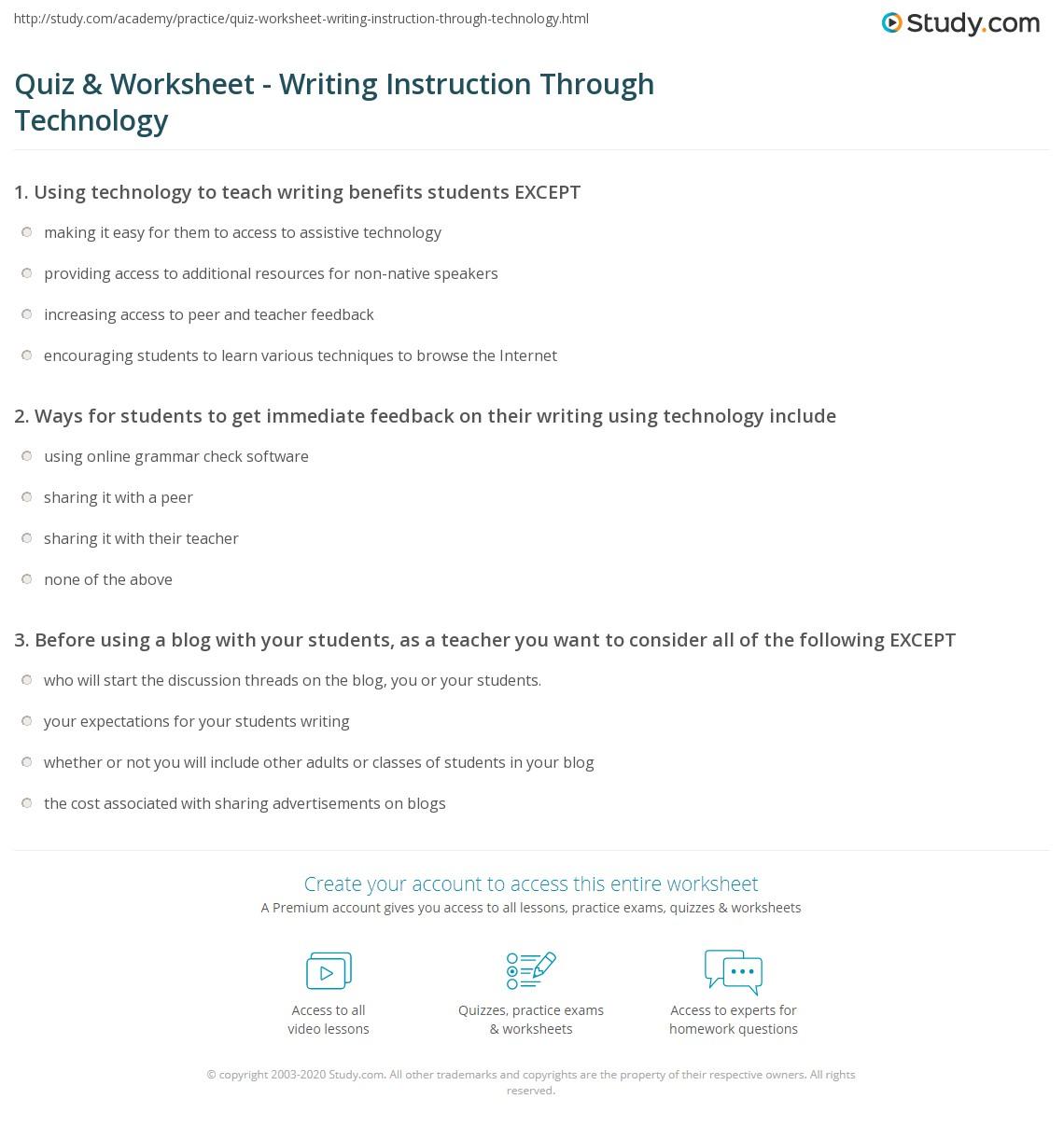 worksheet Technology Worksheets quiz worksheet writing instruction through technology study com print using to teach worksheet