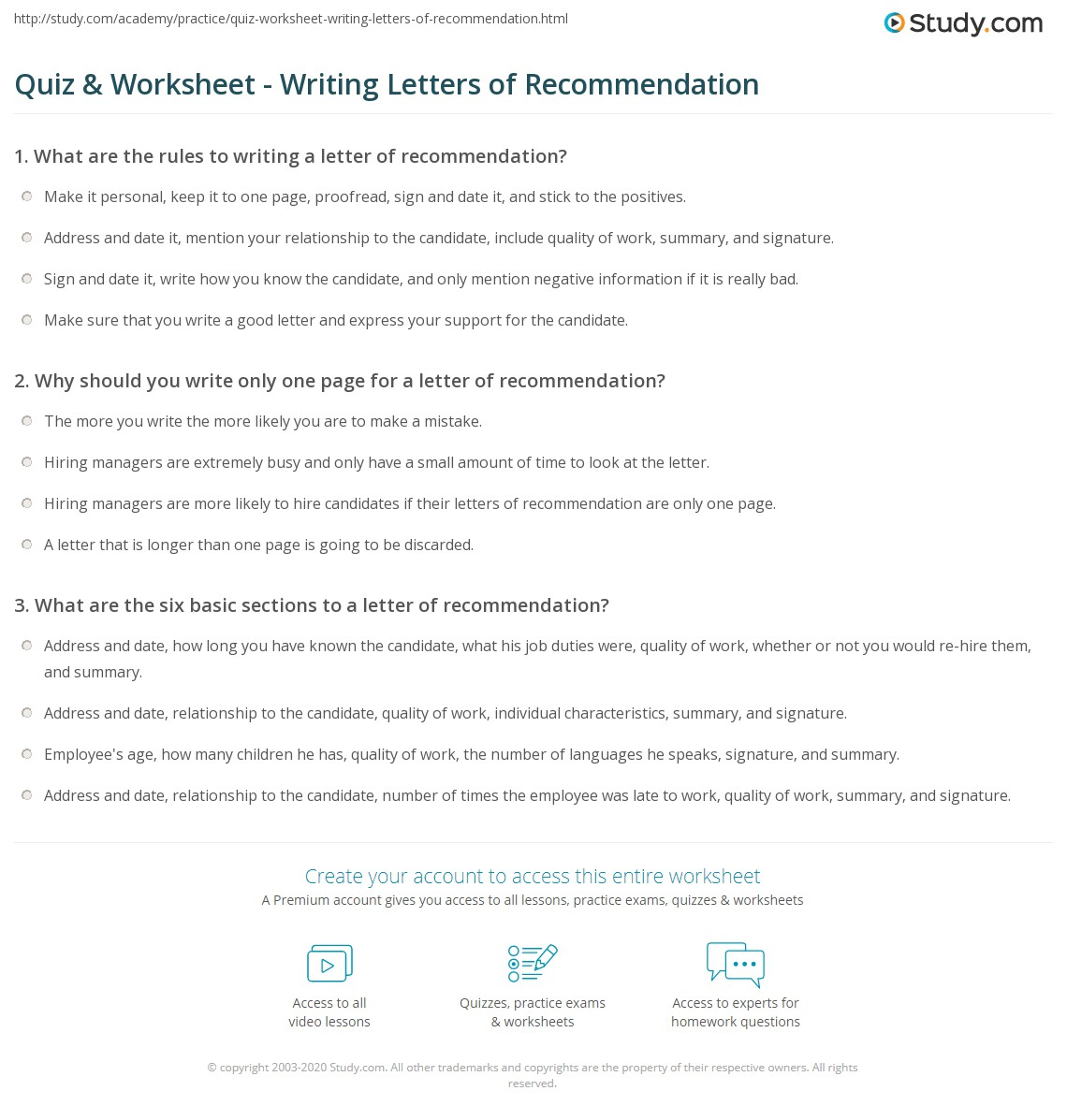 Quiz  Worksheet  Writing Letters Of Recommendation  StudyCom