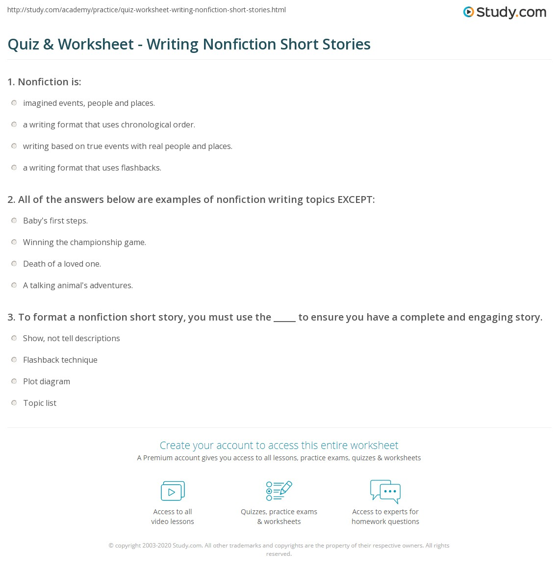 literary nonfiction short stories for middle school