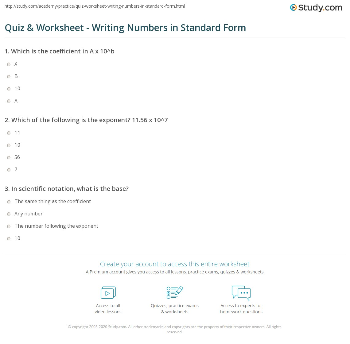 Quiz Worksheet Writing Numbers In Standard Form Study