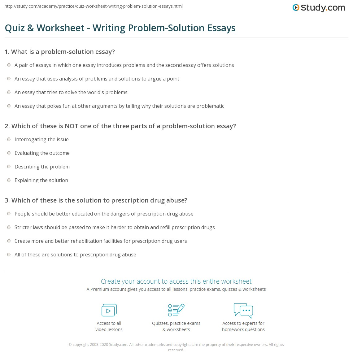 Quiz  Worksheet  Writing Problemsolution Essays  Studycom Print Writing A Problemsolution Essay Strategies  Examples Worksheet