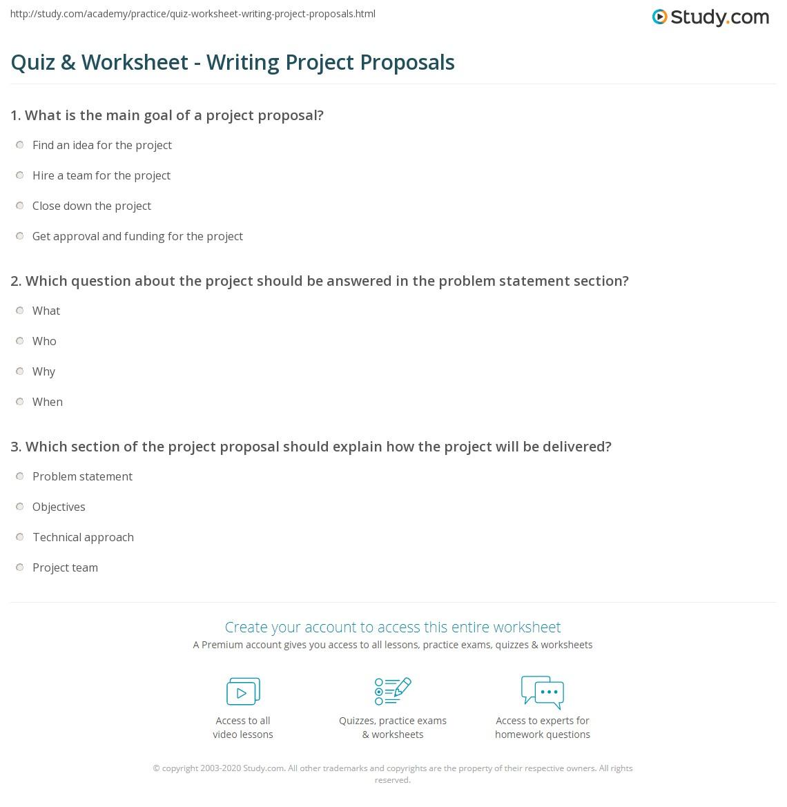 Quiz & Worksheet - Writing Project Proposals | Study.com