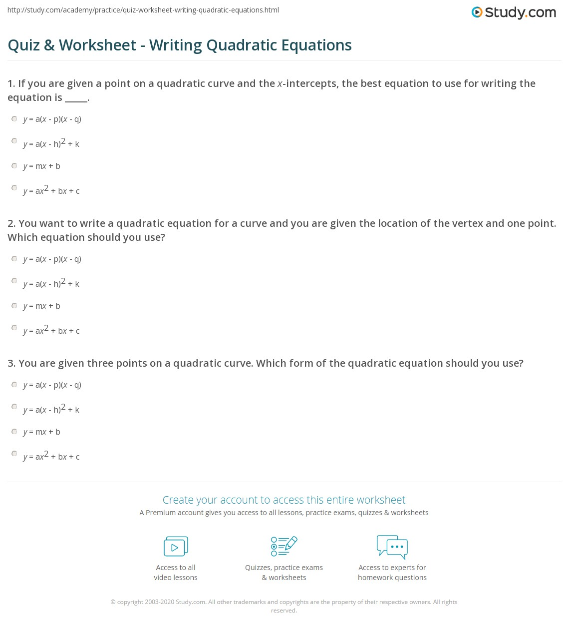 Quiz & Worksheet - Writing Quadratic Equations | Study.com