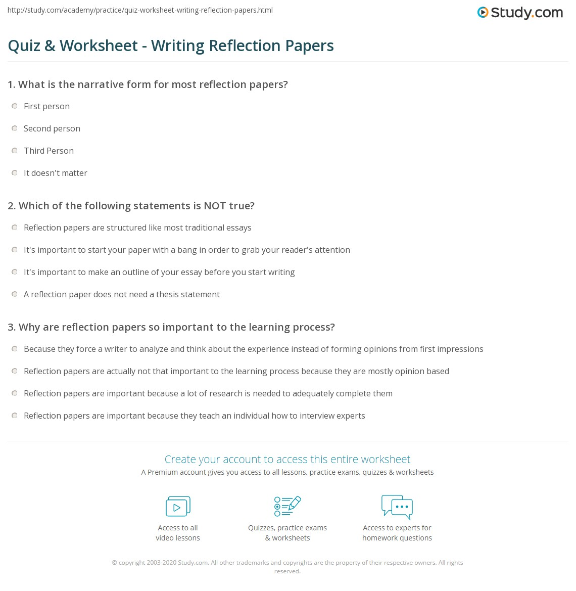 quiz worksheet writing reflection papers com print how to write a reflection paper worksheet
