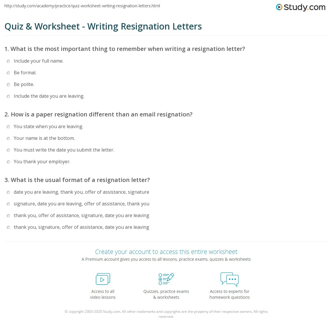 quiz worksheet writing resignation letters study com