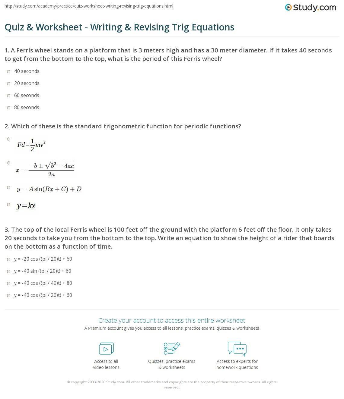 Worksheets Trig Equations Worksheet quiz worksheet writing revising trig equations study com print trigonometric worksheet