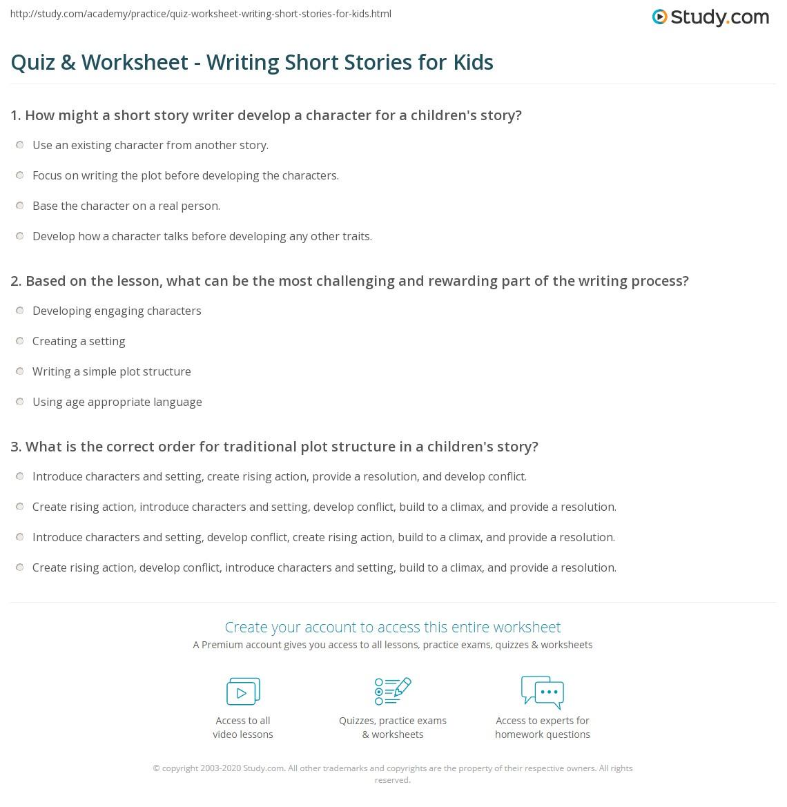 Quiz Worksheet Writing Short Stories for Kids – Creating a Character Worksheet