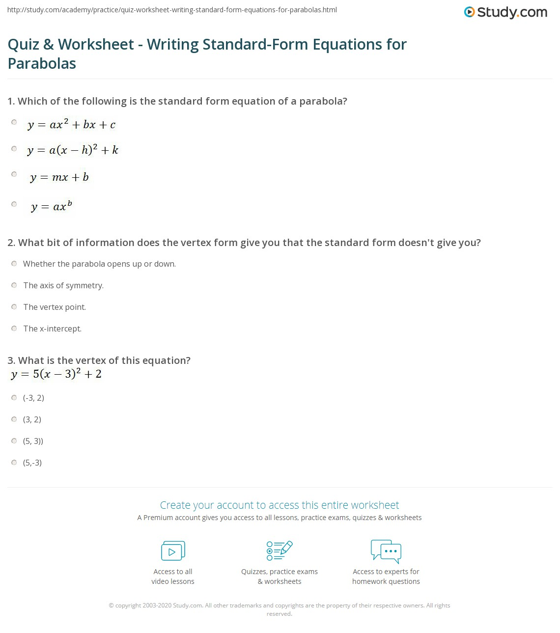 quiz worksheet writing standard form equations for parabolas  print writing standard form equations for parabolas definition explanation worksheet