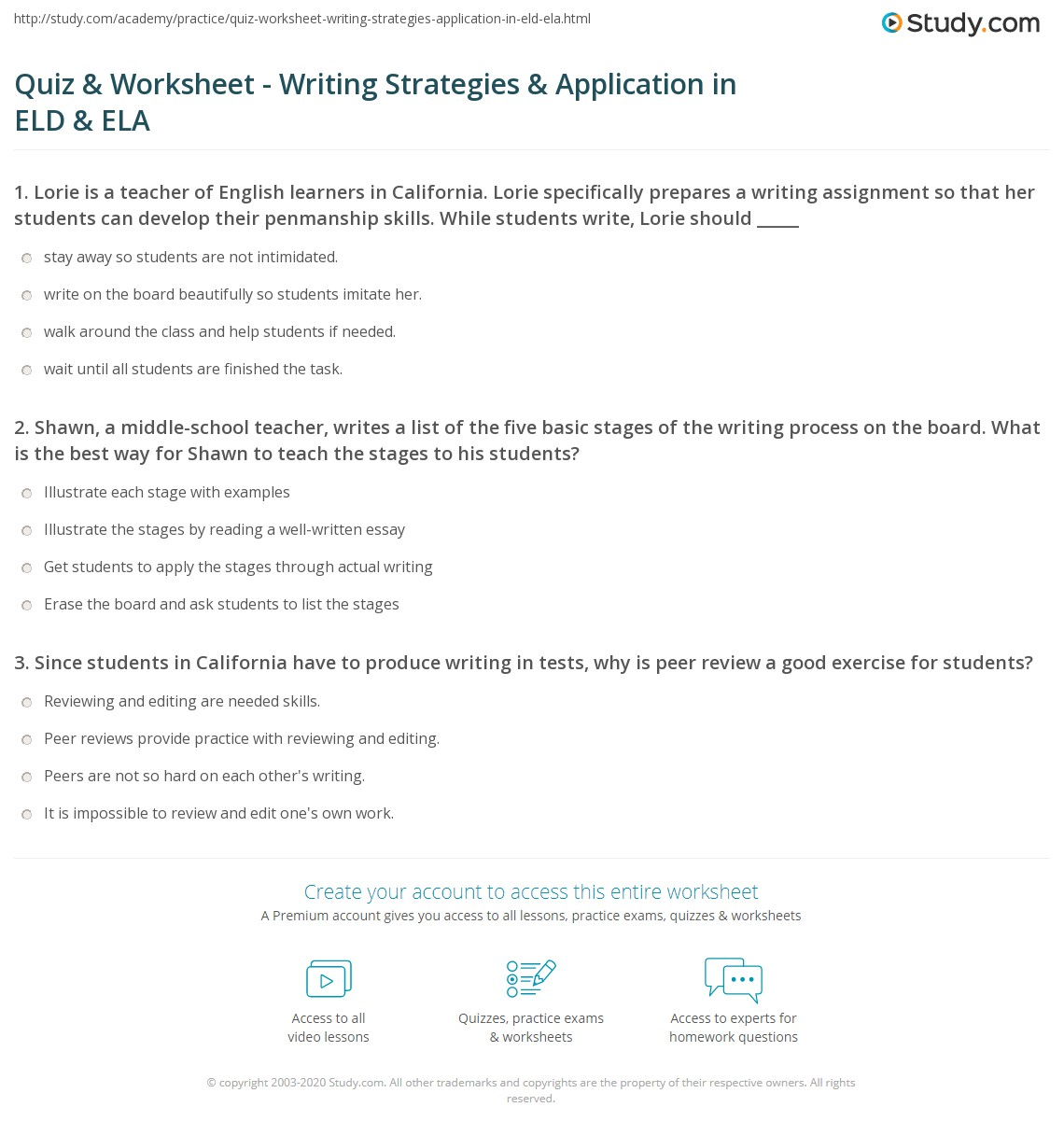 Quiz & Worksheet - Writing Strategies & Application in ELD & ELA ...